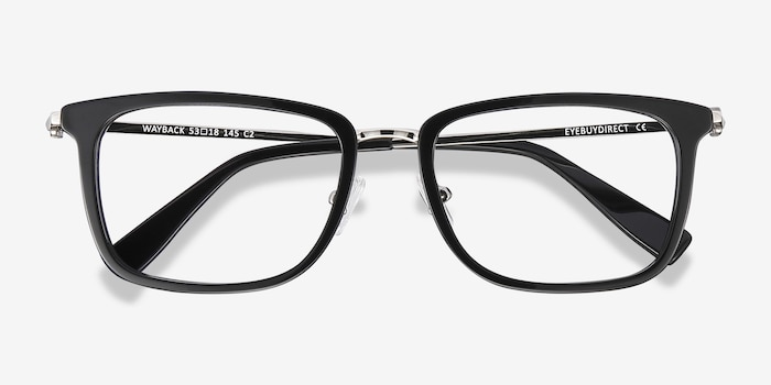 Wayback Black Acetate Eyeglass Frames from EyeBuyDirect, Closed View