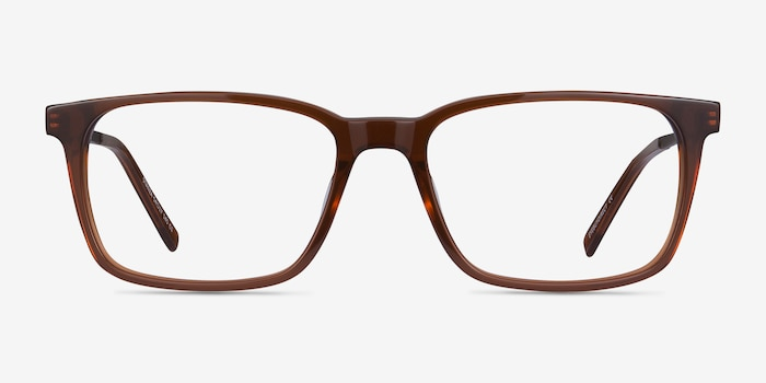 Stanza Brown Acetate Eyeglass Frames from EyeBuyDirect, Front View