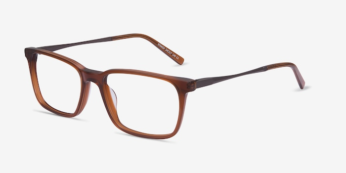 Stanza Brown Acetate Eyeglass Frames from EyeBuyDirect, Angle View