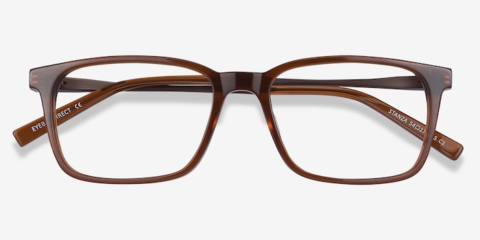 Stanza Brown Acetate Eyeglass Frames from EyeBuyDirect, Closed View