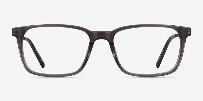 Stanza Gray Acetate Eyeglass Frames from EyeBuyDirect, Front View