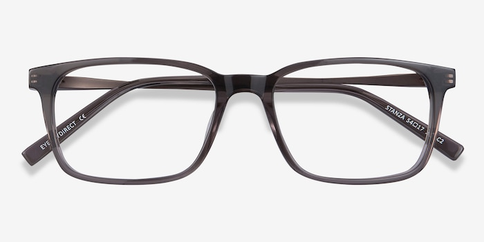Stanza Gray Acetate Eyeglass Frames from EyeBuyDirect, Closed View