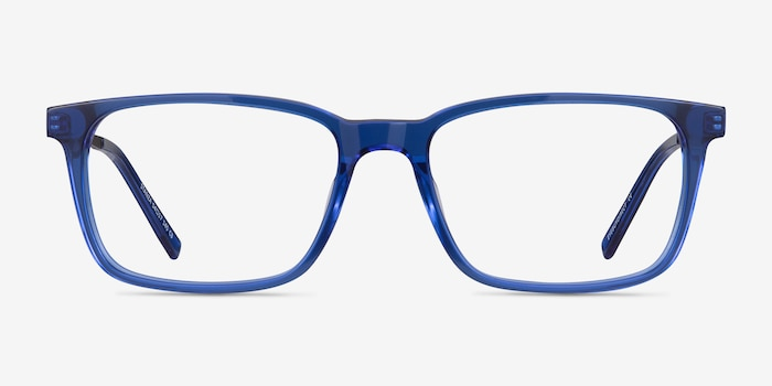 Stanza Blue Acetate Eyeglass Frames from EyeBuyDirect, Front View