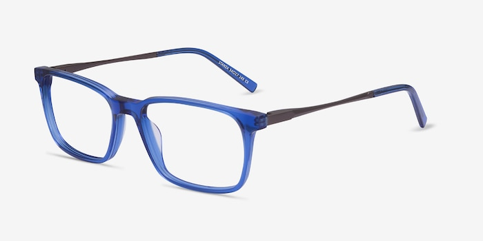 Stanza Blue Acetate Eyeglass Frames from EyeBuyDirect, Angle View