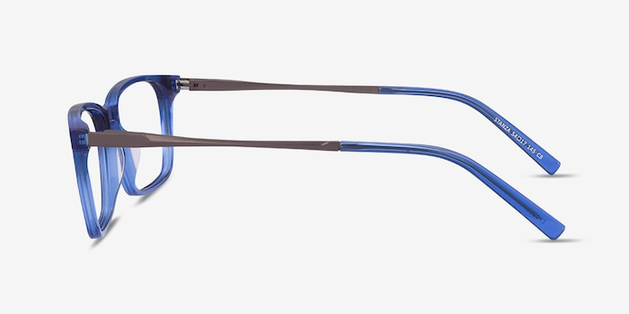 Stanza Blue Acetate Eyeglass Frames from EyeBuyDirect, Side View