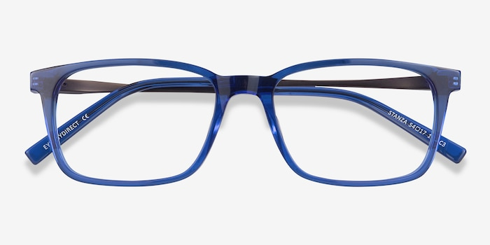 Stanza Blue Acetate Eyeglass Frames from EyeBuyDirect, Closed View
