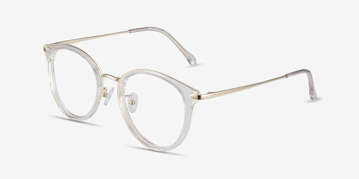 Hollie Clear Metal Eyeglass Frames from EyeBuyDirect, Angle View