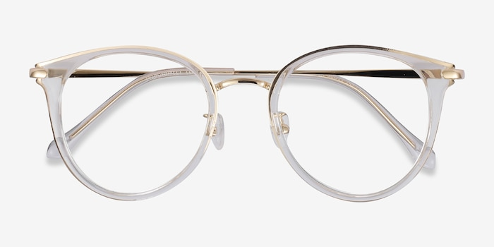 Hollie Clear Metal Eyeglass Frames from EyeBuyDirect, Closed View