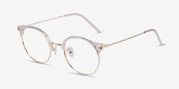 Moon River Clear Metal Eyeglass Frames from EyeBuyDirect, Angle View