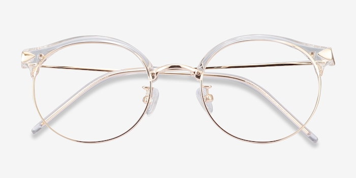Moon River Clear Metal Eyeglass Frames from EyeBuyDirect, Closed View