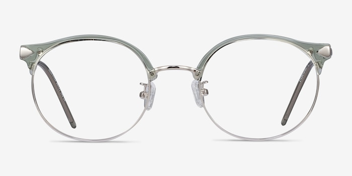 Moon River Clear Green Plastic-metal Eyeglass Frames from EyeBuyDirect, Front View