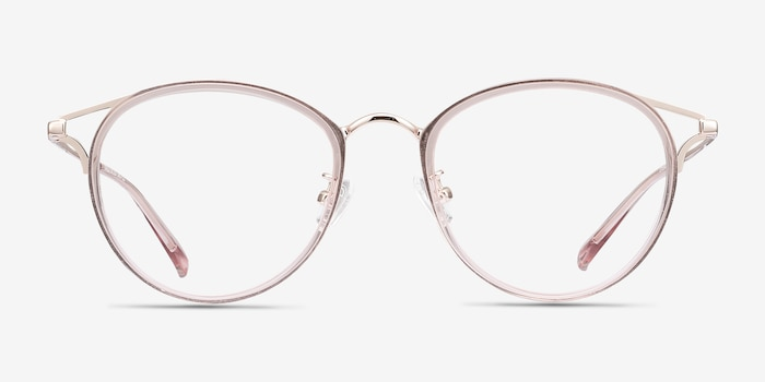 Dazzle Pink Metal Eyeglass Frames from EyeBuyDirect, Front View