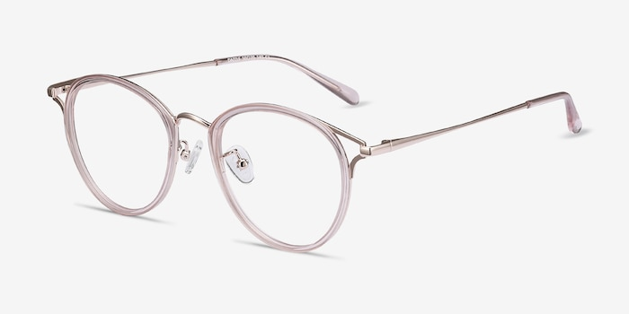 Dazzle Pink Metal Eyeglass Frames from EyeBuyDirect, Angle View