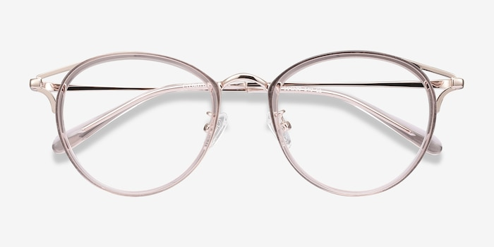 Dazzle Pink Metal Eyeglass Frames from EyeBuyDirect, Closed View