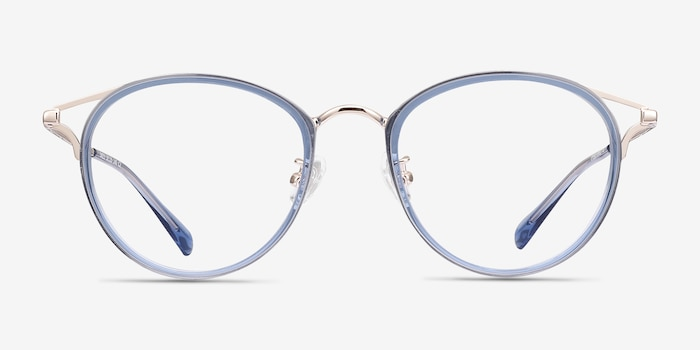 Dazzle Blue Metal Eyeglass Frames from EyeBuyDirect, Front View