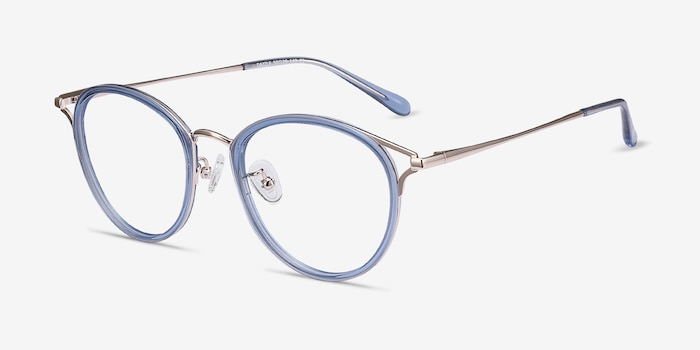 Dazzle Blue Metal Eyeglass Frames from EyeBuyDirect, Angle View