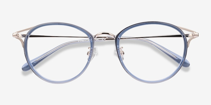 Dazzle Blue Metal Eyeglass Frames from EyeBuyDirect, Closed View
