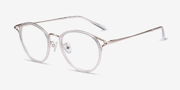 Dazzle Clear Metal Eyeglass Frames from EyeBuyDirect, Angle View