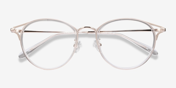 Dazzle Clear Metal Eyeglass Frames from EyeBuyDirect, Closed View