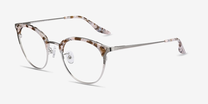 Bouquet Floral Silver Metal Eyeglass Frames from EyeBuyDirect, Angle View