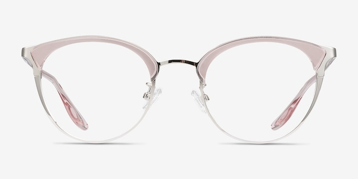 Bouquet Pink Silver Metal Eyeglass Frames from EyeBuyDirect, Front View