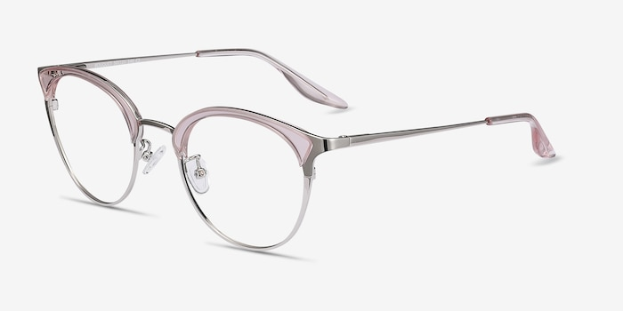 Bouquet Pink Silver Metal Eyeglass Frames from EyeBuyDirect, Angle View