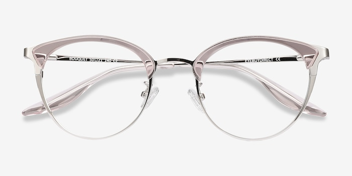 Bouquet Pink Silver Metal Eyeglass Frames from EyeBuyDirect, Closed View