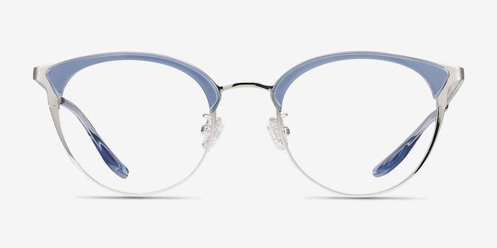 Bouquet Blue Silver Metal Eyeglass Frames from EyeBuyDirect, Front View