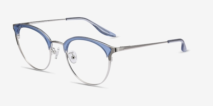 Bouquet Blue Silver Metal Eyeglass Frames from EyeBuyDirect, Angle View