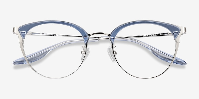 Bouquet Blue Silver Metal Eyeglass Frames from EyeBuyDirect, Closed View