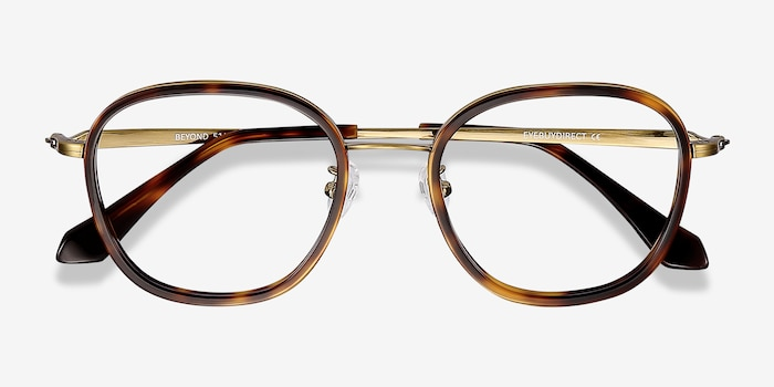 Beyond  Tortoise Metal Eyeglass Frames from EyeBuyDirect, Closed View
