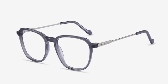 The Fan Gray Acetate Eyeglass Frames from EyeBuyDirect, Angle View
