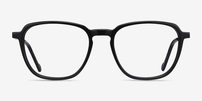The Fan Black Acetate Eyeglass Frames from EyeBuyDirect, Front View