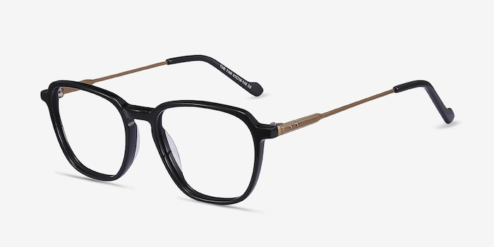 The Fan Black Acetate-metal Eyeglass Frames from EyeBuyDirect, Angle View