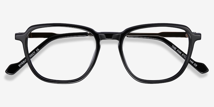 The Fan Black Acetate Eyeglass Frames from EyeBuyDirect, Closed View