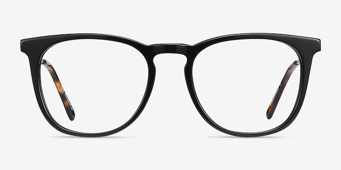Vinyl Black Acetate Eyeglass Frames from EyeBuyDirect, Front View