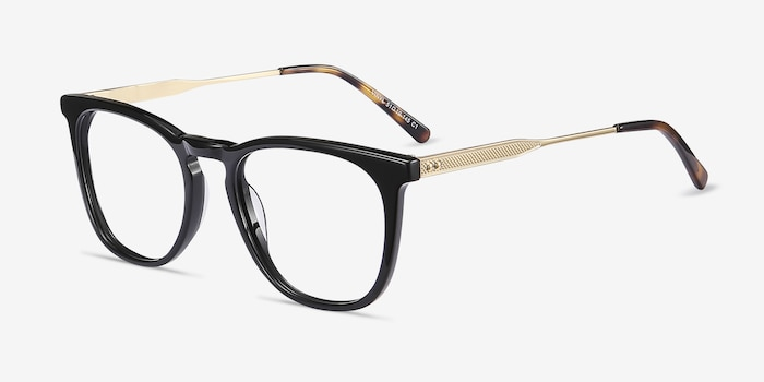 Vinyl Black Acetate Eyeglass Frames from EyeBuyDirect, Angle View