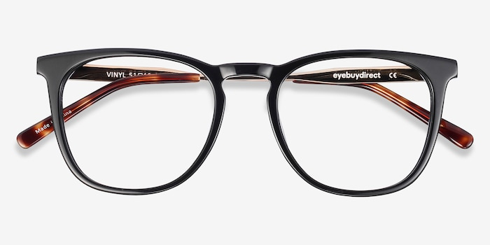Vinyl Black Acetate Eyeglass Frames from EyeBuyDirect, Closed View