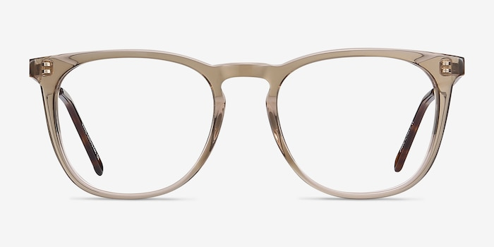 Vinyl Brown Acetate Eyeglass Frames from EyeBuyDirect, Front View