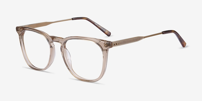 Vinyl Brown Metal Eyeglass Frames from EyeBuyDirect, Angle View