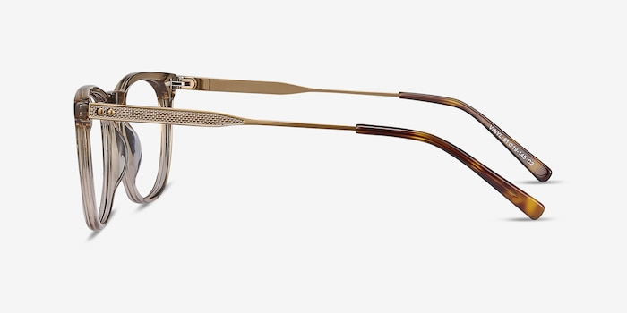 Vinyl Brown Metal Eyeglass Frames from EyeBuyDirect, Side View
