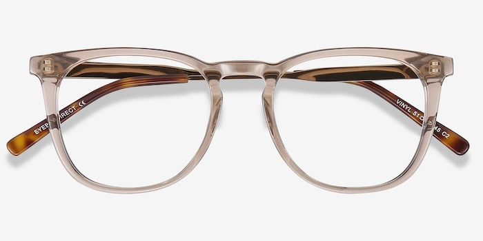Vinyl Brown Metal Eyeglass Frames from EyeBuyDirect, Closed View