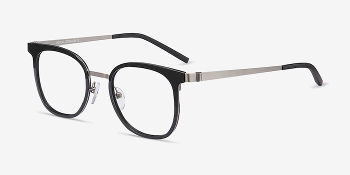 Rotem Black Metal Eyeglass Frames from EyeBuyDirect, Angle View