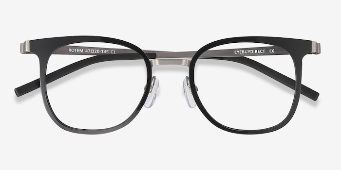 Rotem Black Metal Eyeglass Frames from EyeBuyDirect, Closed View