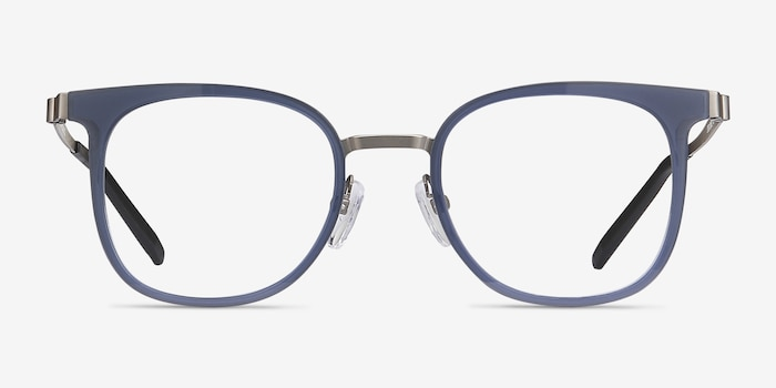 Rotem Navy Metal Eyeglass Frames from EyeBuyDirect, Front View
