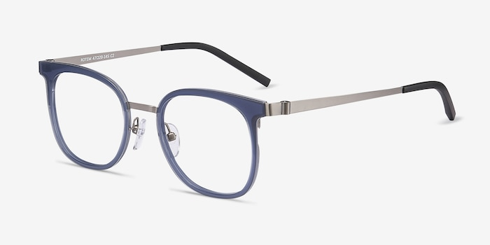 Rotem Navy Acetate Eyeglass Frames from EyeBuyDirect, Angle View