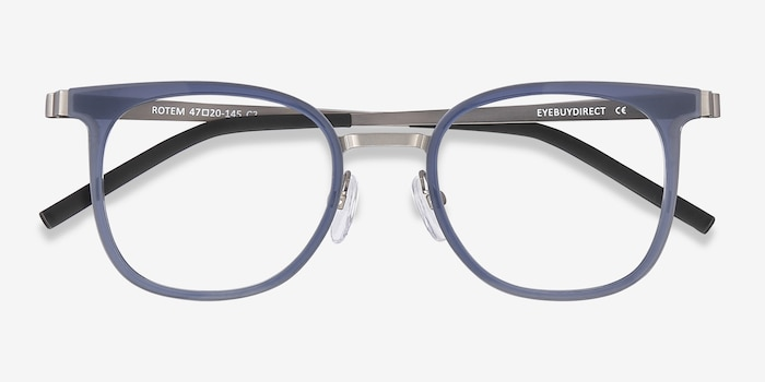 Rotem Navy Metal Eyeglass Frames from EyeBuyDirect, Closed View