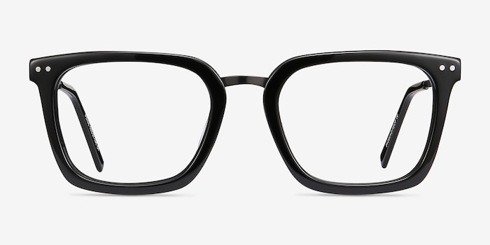 Poise Black Metal Eyeglass Frames from EyeBuyDirect, Front View