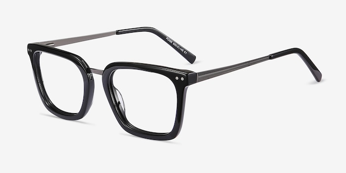 Poise Black Metal Eyeglass Frames from EyeBuyDirect, Angle View