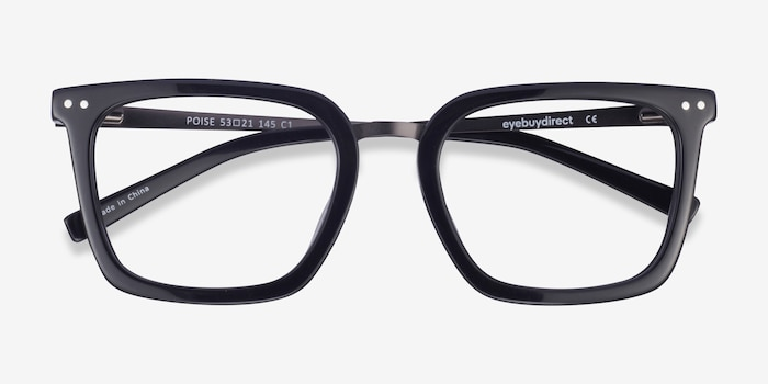 Poise Black Metal Eyeglass Frames from EyeBuyDirect, Closed View